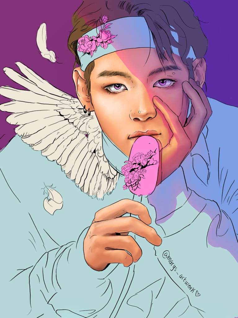 V Coloring A Bts Coloring Book Page Army S Amino