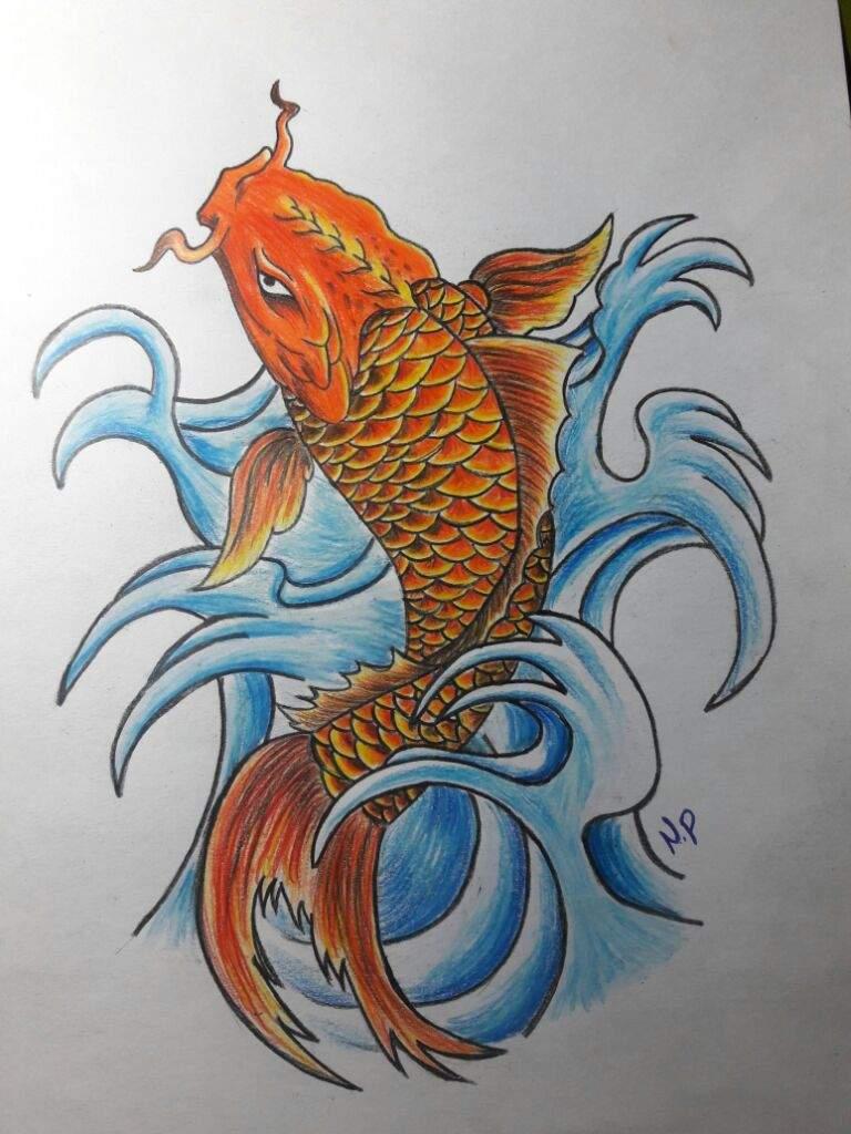 dibujo pez koi aprendiendo a dibujar amino
