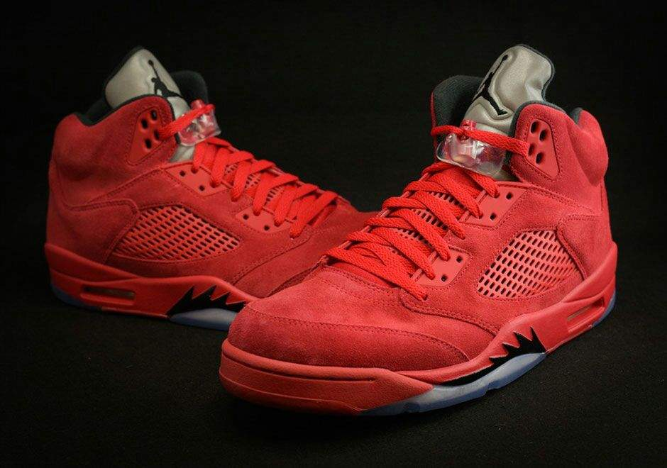 uk availability fd8b1 8cd8c The Air Jordan 5 Red Suede takes a similar inspiration to task, but this  time features a matching red midsole, black shark teeth, and an icy outsole  to ...