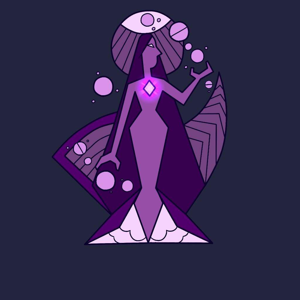 a purple diamond mural and purple diamond in her court | steven