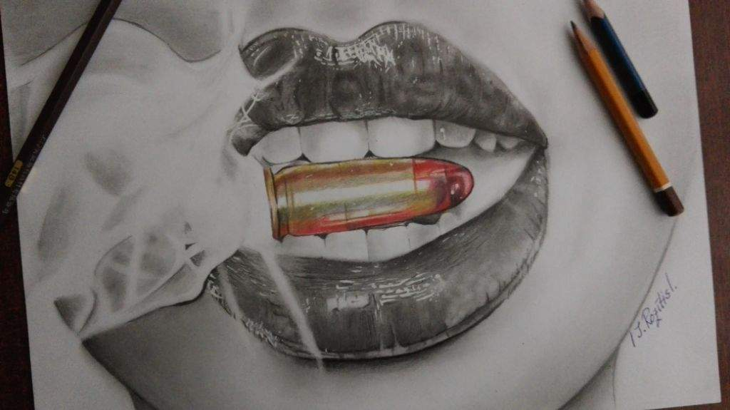 Realistic Lips With Bullet Drawing Amino