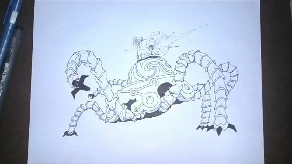 Speed Art Dibujo Rapido Guardian De Zelda Btw A Lápiz Y Plumilla