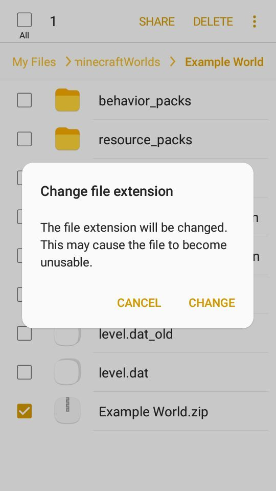 How to convert YOUR  zip files to  mcworld on Android