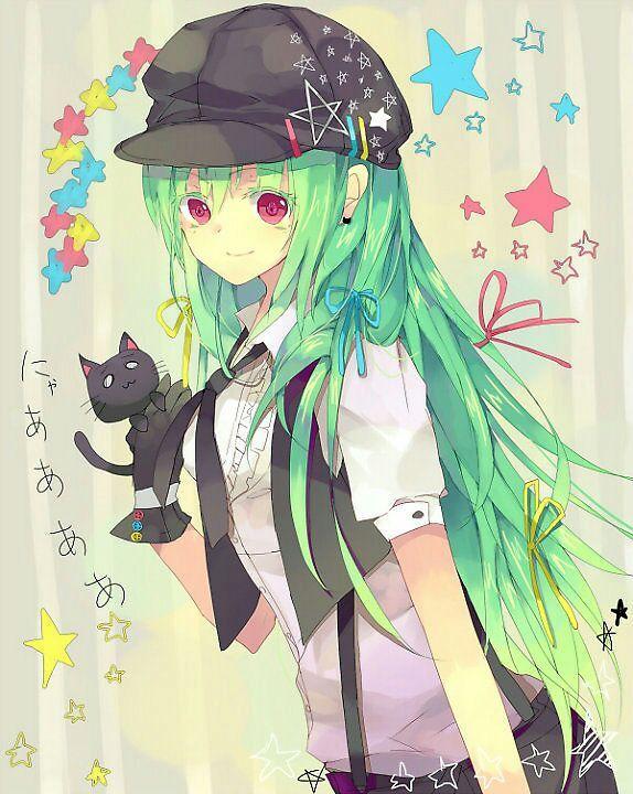 Тян с зелеными волосами аниме