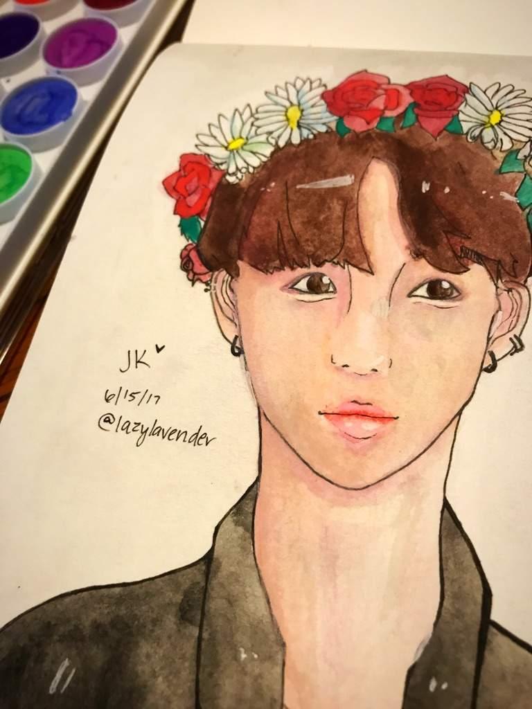 Jungkook Flower Crown Watercolor Fanart Armys Amino