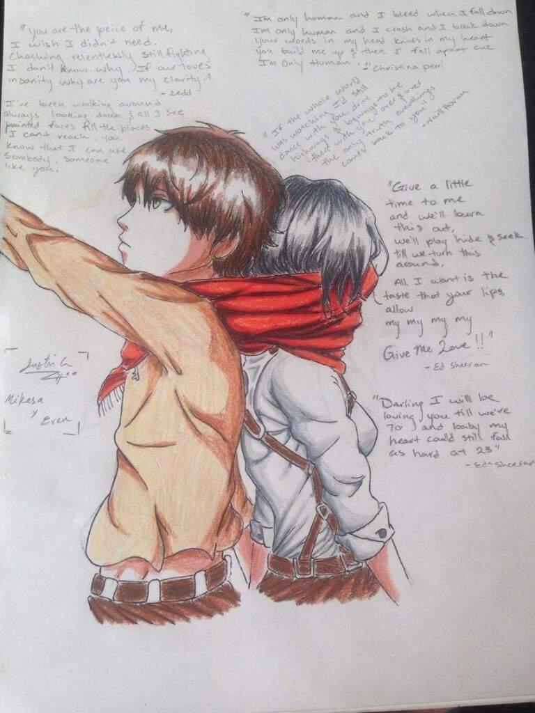 Mikasa X Eren Fanart Attack On Titan Amino