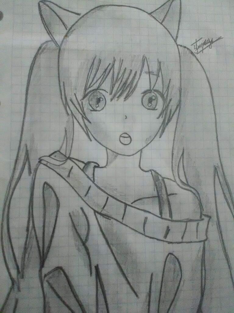 Dibujos Anime: Dibujo Miku A Lápiz