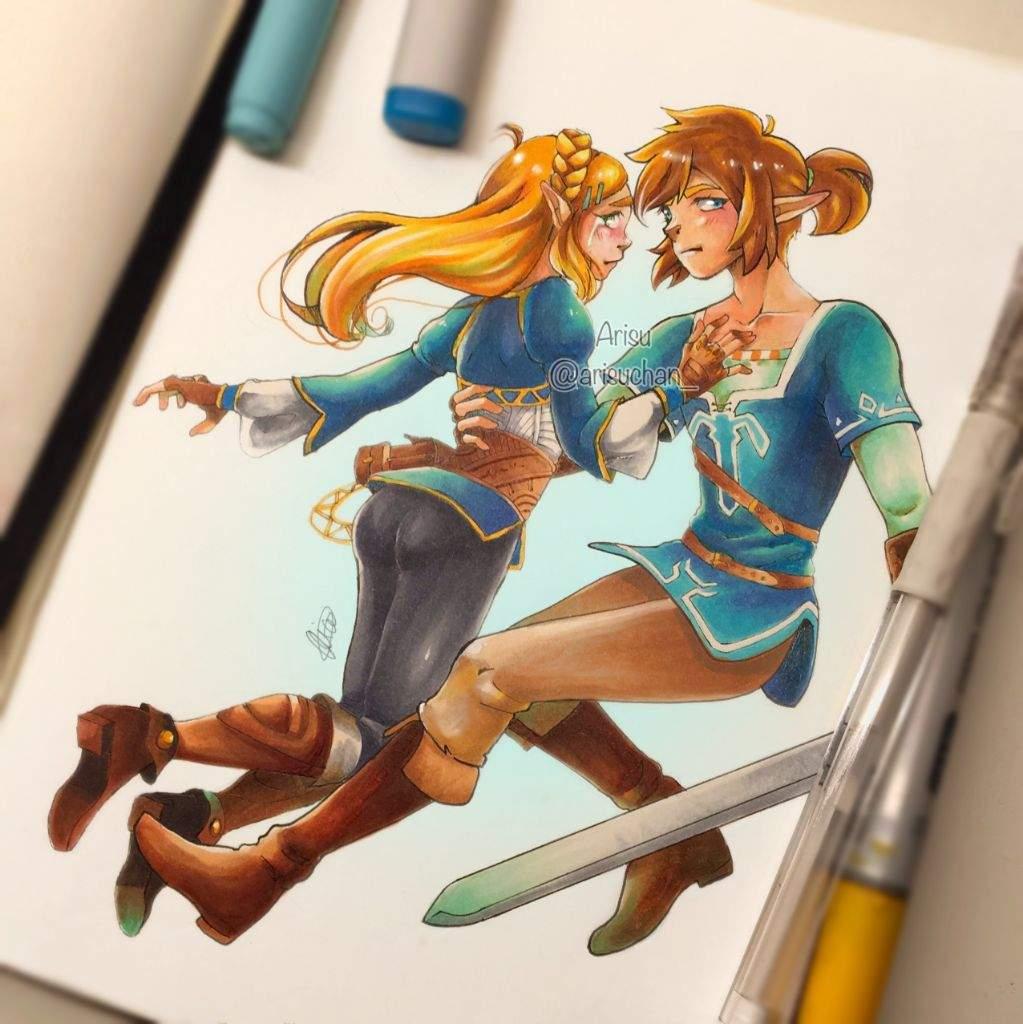 Link And Zelda Fanart Botw Art Amino
