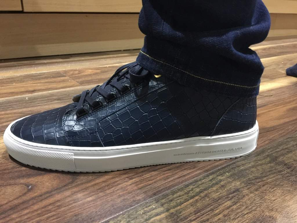 Android Homme Propulsion Mid Navy Reptile Trainers Sneakerheads Amino