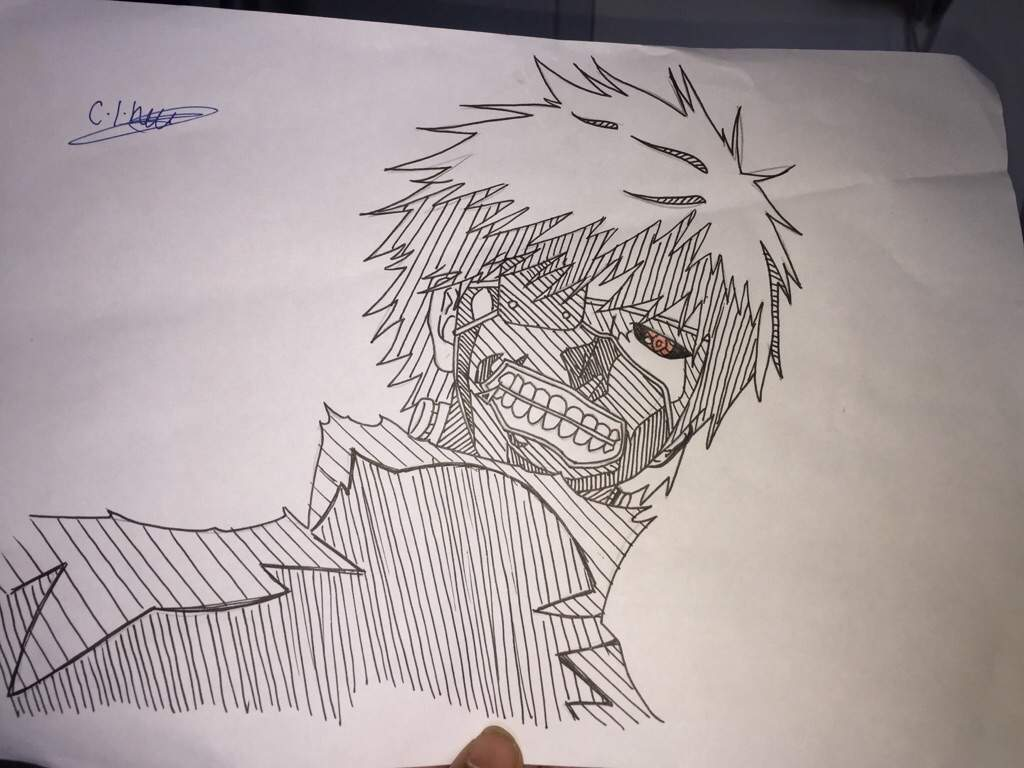 Line Drawing With Shading : Eye patch ghoul graphic pen with line shading effect amino