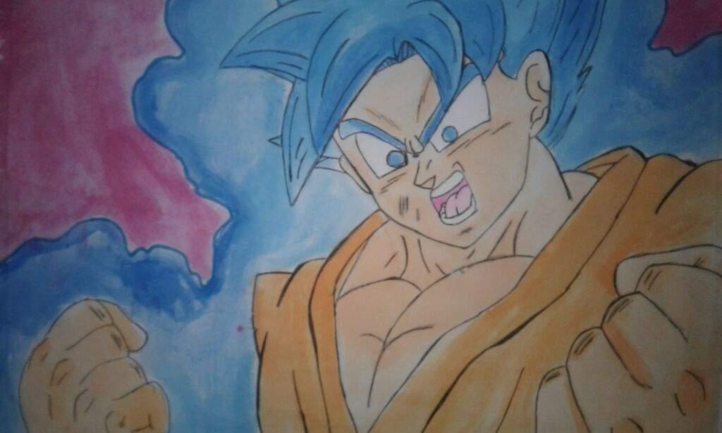 Mi Dibujo De Goku Pintado Con Acuarelas Dragon Ball Super