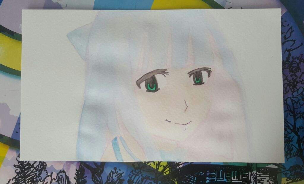 Next I Added A Very Thin Layer Of Watercolor Also Darkened Her Eyes With Black Pencil