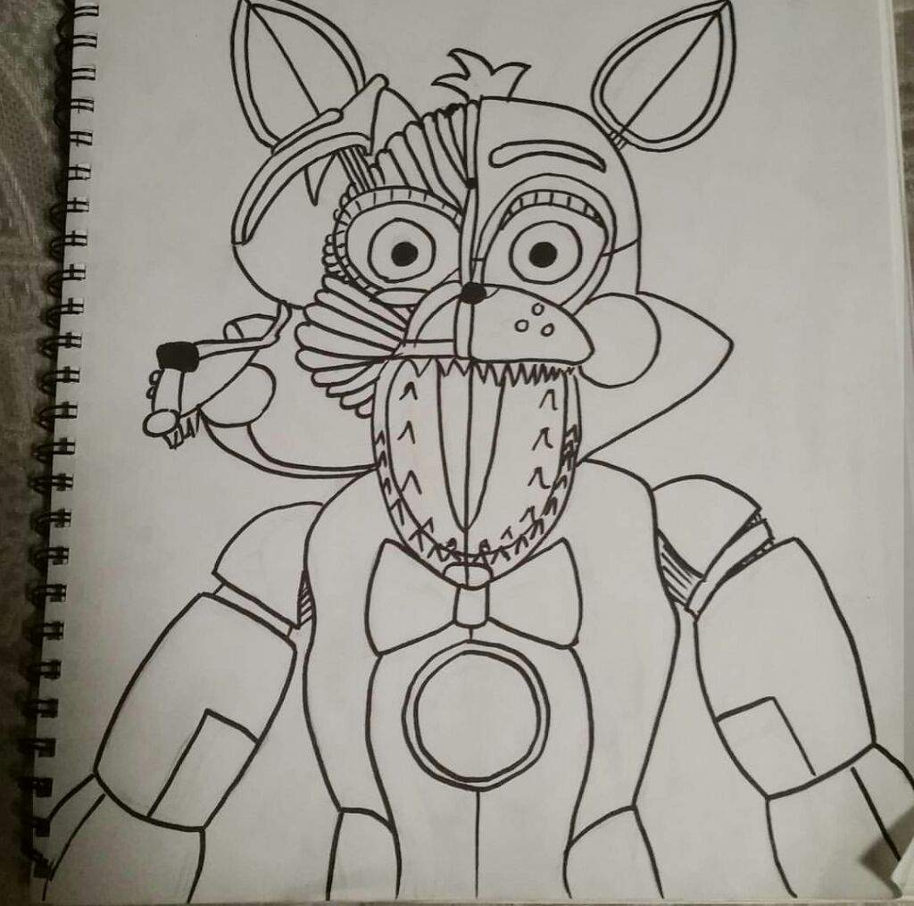 funtime foxy coloring pages - funtime foxy drawing fnaf sister location amino