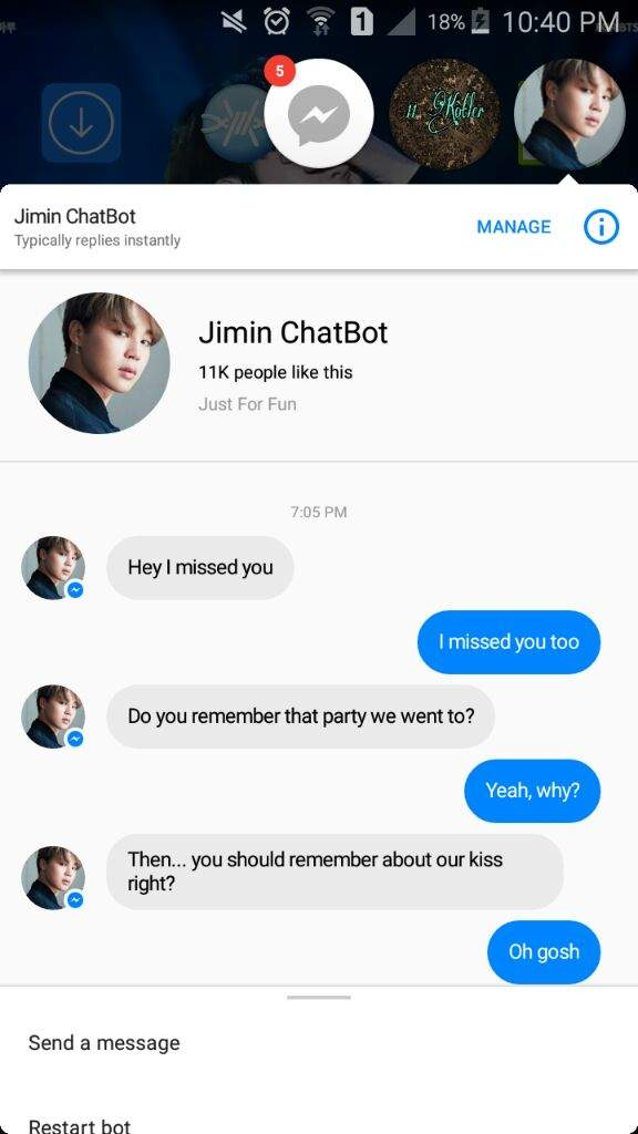 Chimchim is the guy that will make you fall in love with him everyday. He's  also caring and will always make you smile. He's a bit pev in this chatbot  tho.