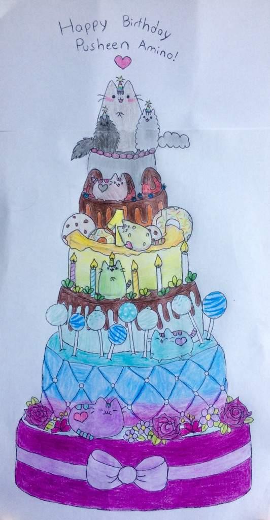 Pusheen The Cat Amino Birthday Cake Finished Pusheen The Cat