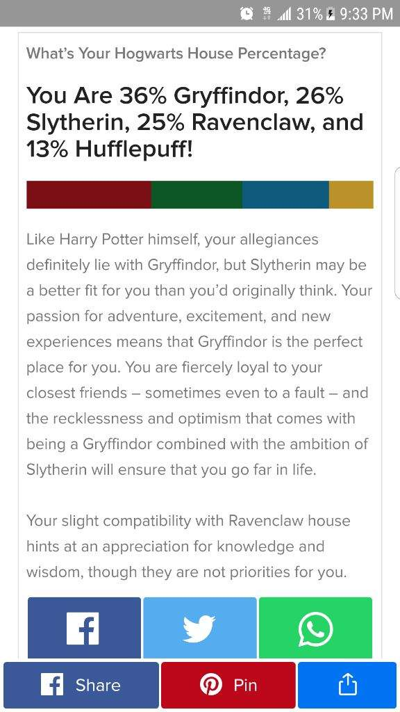 When you take the sorting hat quiz on Buzzfeed  | Harry
