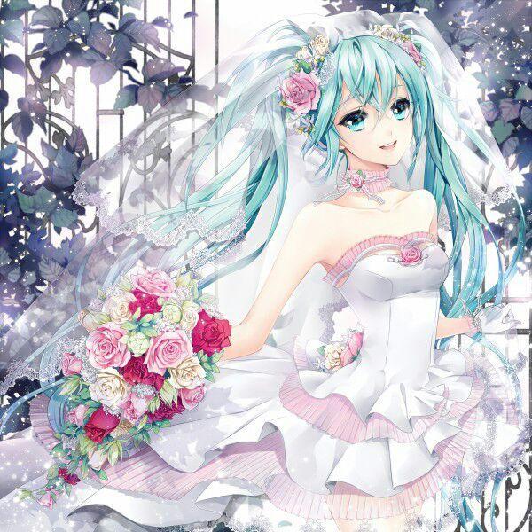Аниме девушка в свадебном платье
