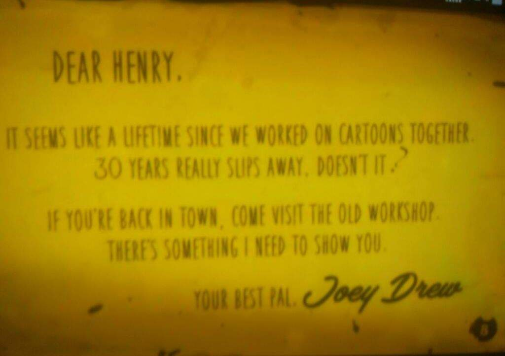 Bendy And The Ink Machine Joey S Letter