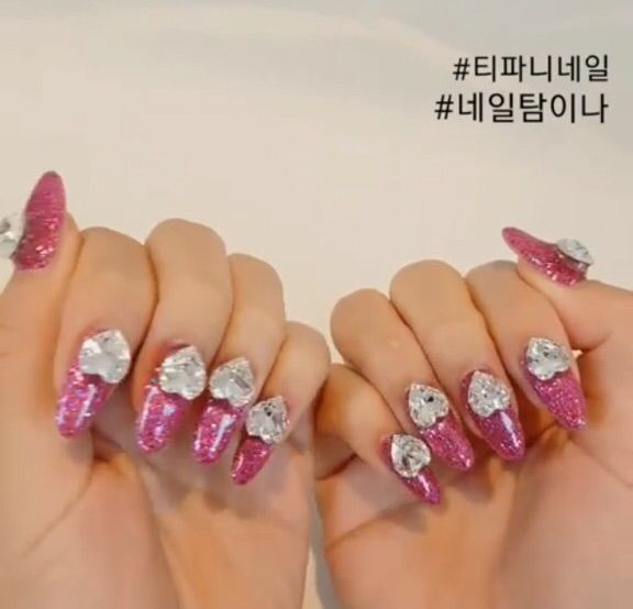 Tiffanys new nails girls generation amino her nails are pink with huge diamond hearts prinsesfo Image collections