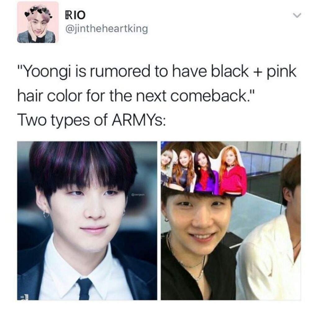 Suga Having Black And Pink Hair For The Next Come Back Judging By His In Past Im Sure It Will Look Amazing Really Looking