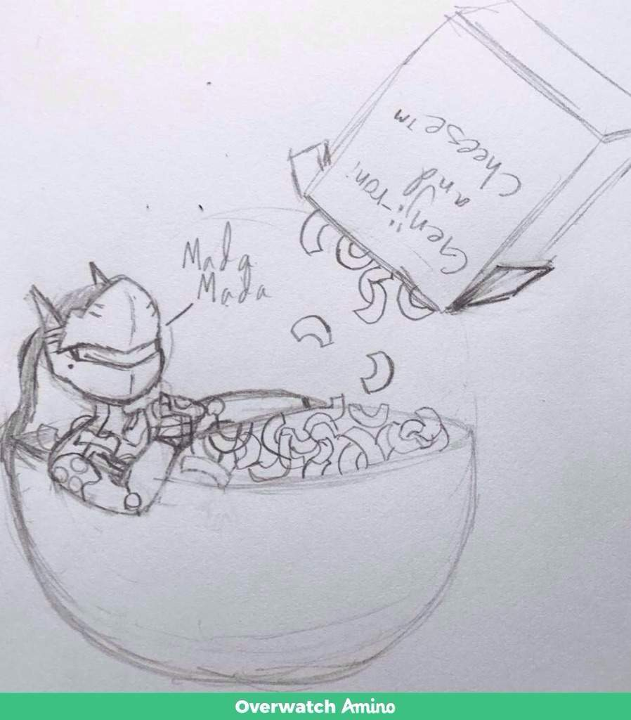 Genji in mac n cheese bowl drawing digitalized priginal sketch fromunknown