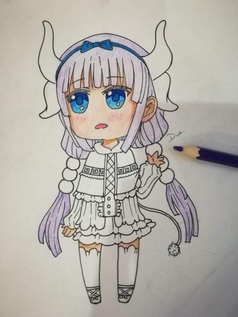I used a light purple color pencil for the base of her hair i filled in her hair entirely and used a cotton to smudge in the color