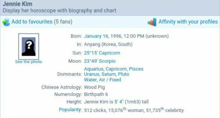 Natal Chart Jennie Kim Wiki K Pop Amino