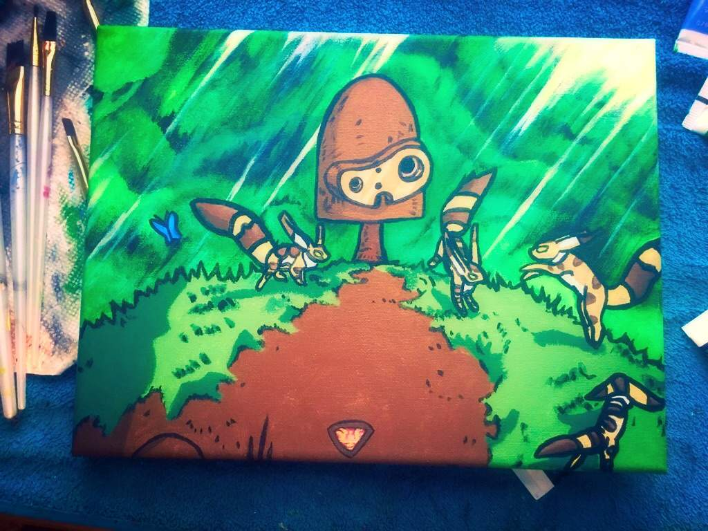 My Most Recent Painting Castle In The Sky Robot With His Friends