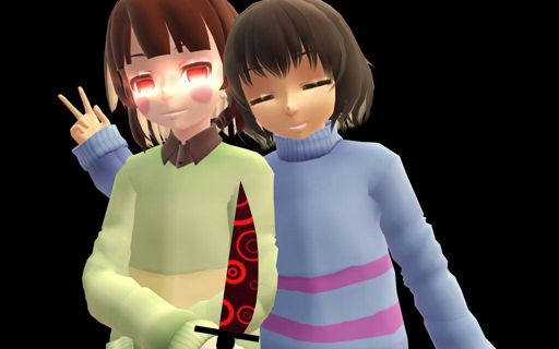 Image: MMD Undertale] Chara and Frisk by InsaneHipsterTeto