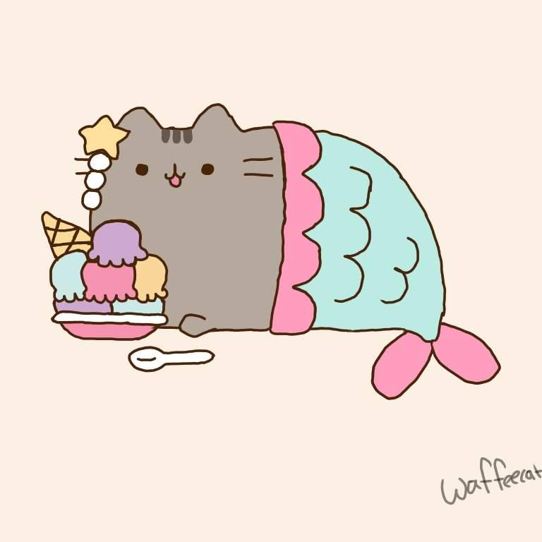 Mermaid pusheen eating ice cream🍦🐱   Pusheen The Cat Amino ...
