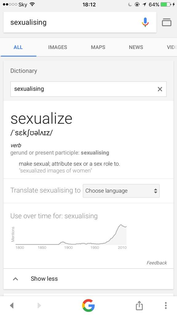Sexualising definition
