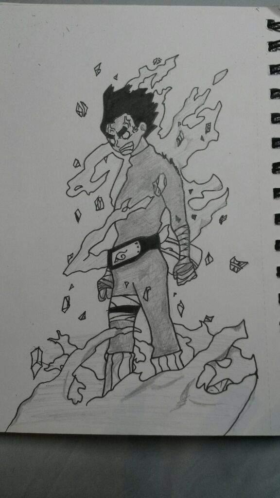 Rock Lee manga style drawing!   Naruto Amino