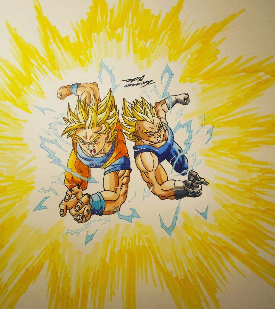 Goku And Vegeta Super Saiyan 2 Drawing Dragonballz Amino