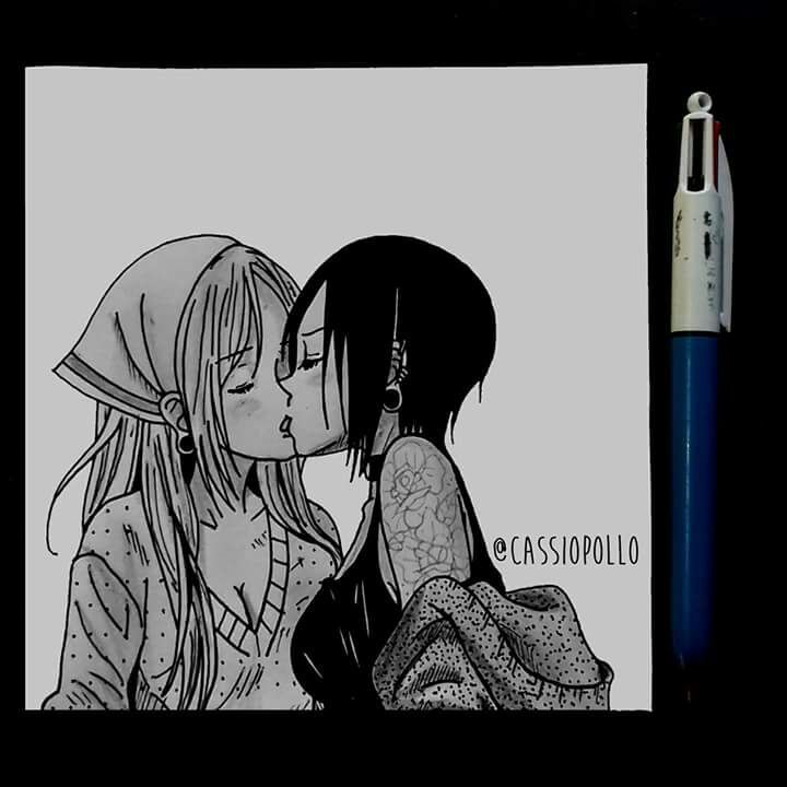 Desenho Finalizado Casal Estilo Manga Draw Drawing Manga