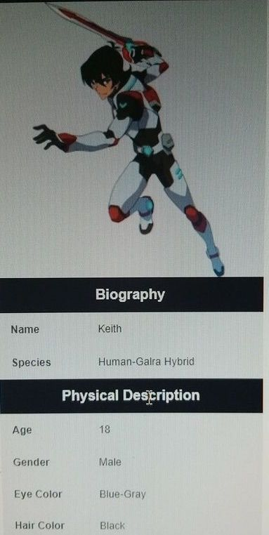 Keith Info On Wiki Voltron Amino
