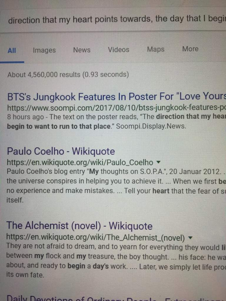 love yourself and the alchemist theory army s amino the first result paul coelho is the author of the second result the book the alchemist i was surprised that it came up because this quote wasn t directly