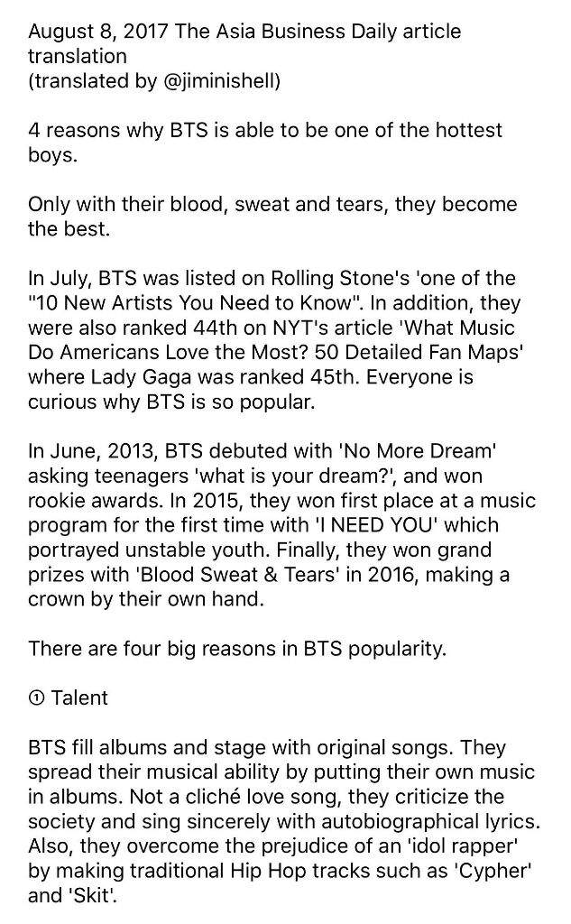 The Asia business daily article - BTS | ARMY's Amino
