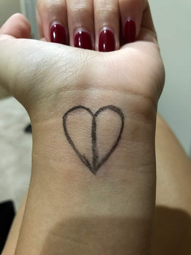 Love yourself tattoo and how i did it armys amino next came the two lines to create the conjoint logo i made the lines a bit thicker so that i can fill in the blank spaces and when the pen washes away urmus Image collections