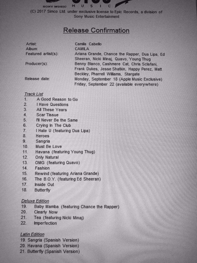 •camilizers• Tracklist Fake ¿real Ththtl Camila Amino O