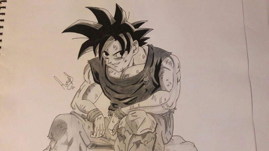 Dibujo De Goku Estilo Blanco Y Negro #MiPropioArte
