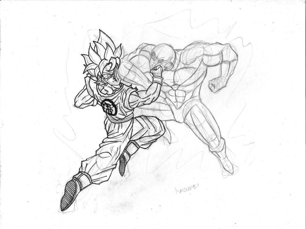 Dibujando A Gokú Vs Jiren Speed Drawing Goku Vs Jiren Katsuragi