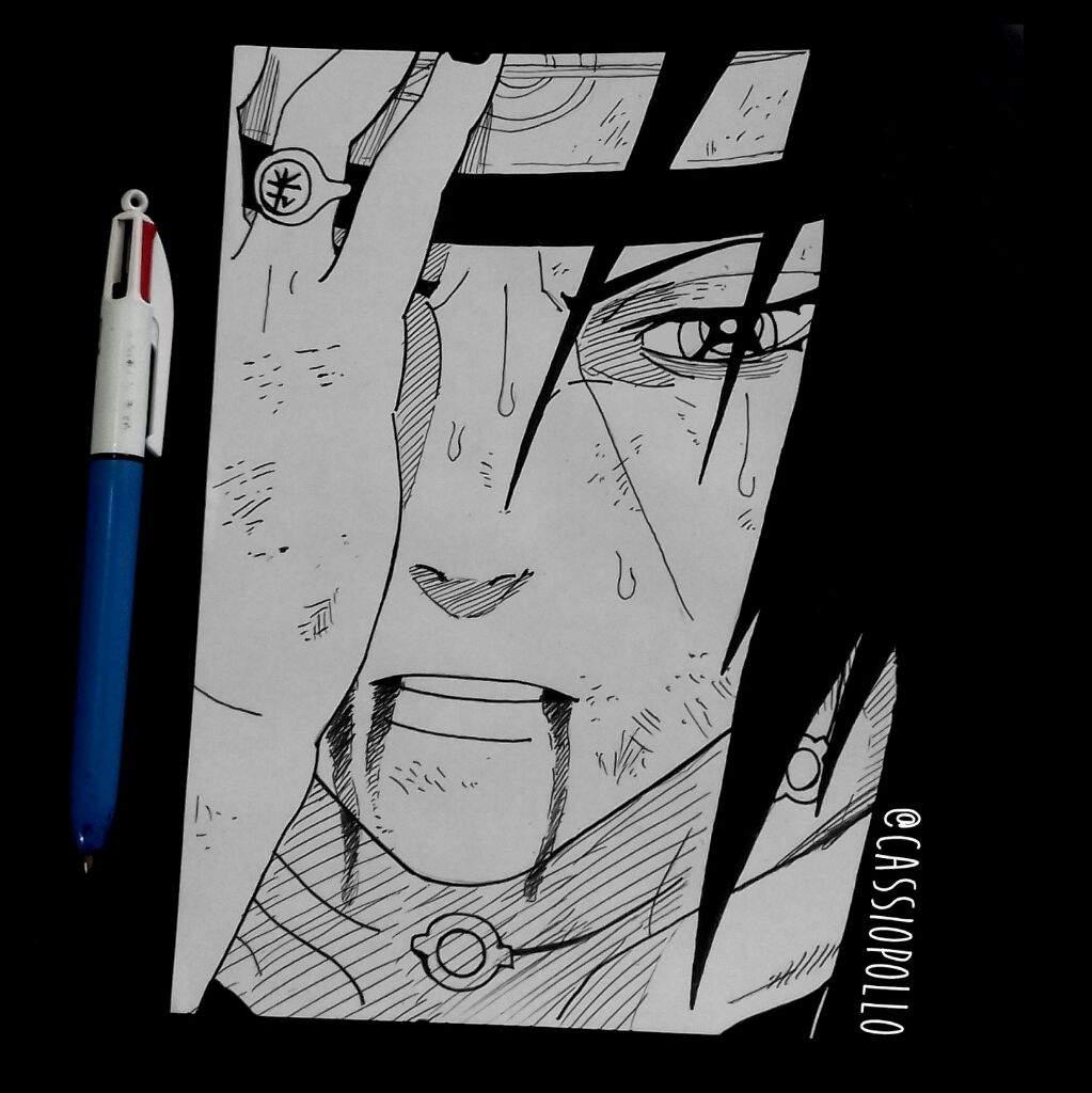 desenhos estilo mangá itachi uchiha finalizado draw drawing