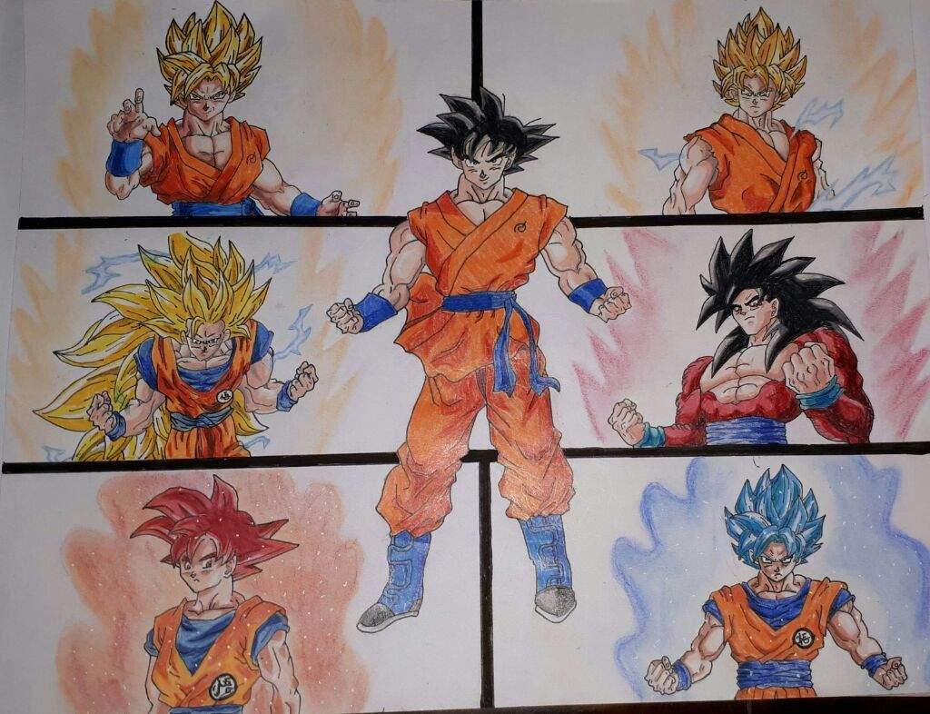 Dibujos De Goku Y Sus Transformaciones Para Colorear: #ConcursoArteMaster Dibujo De Goku Y Todas Sus
