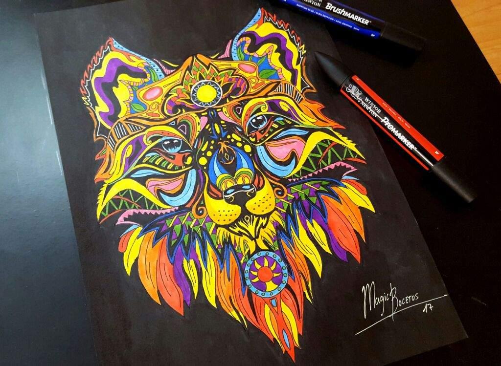 Lobo Zentangle Multicolor Arte Amino Amino
