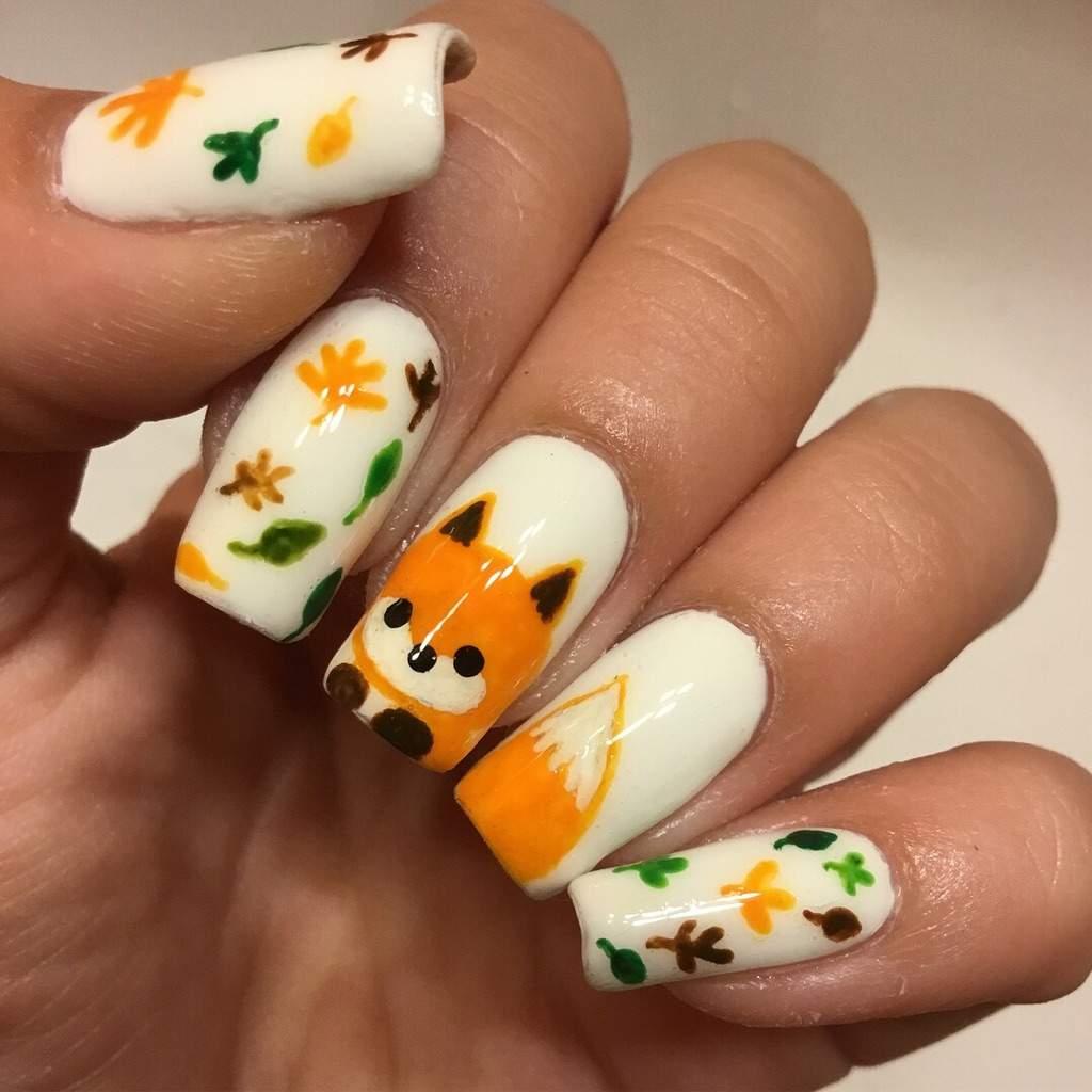 Cute Baby Fox Nails!💅🏻💕🦊 | Nail Art Amino