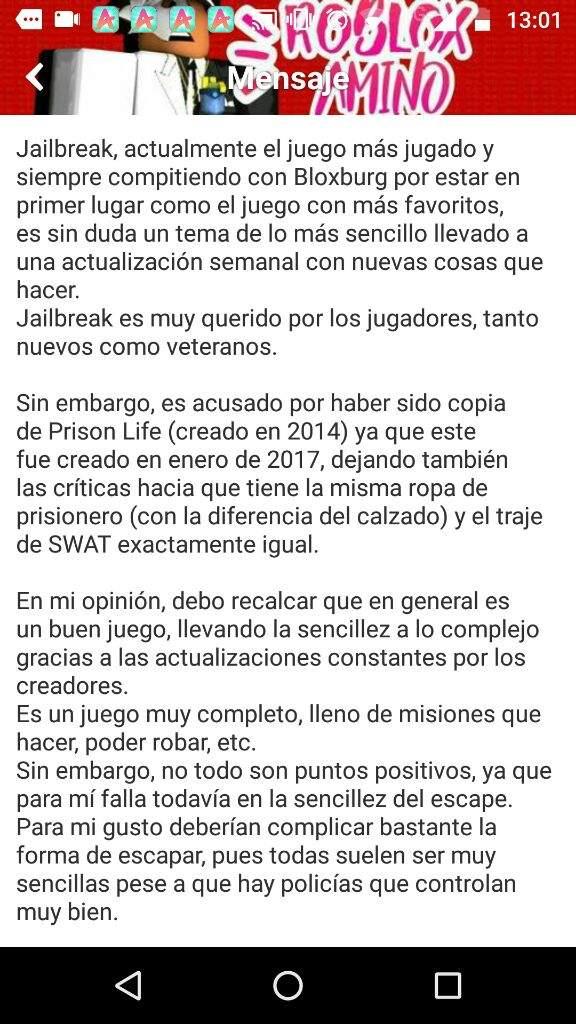 Ventajas Y Desventajas De Jailbreak By Bonnieshakdi Roblox Amino En Español Amino