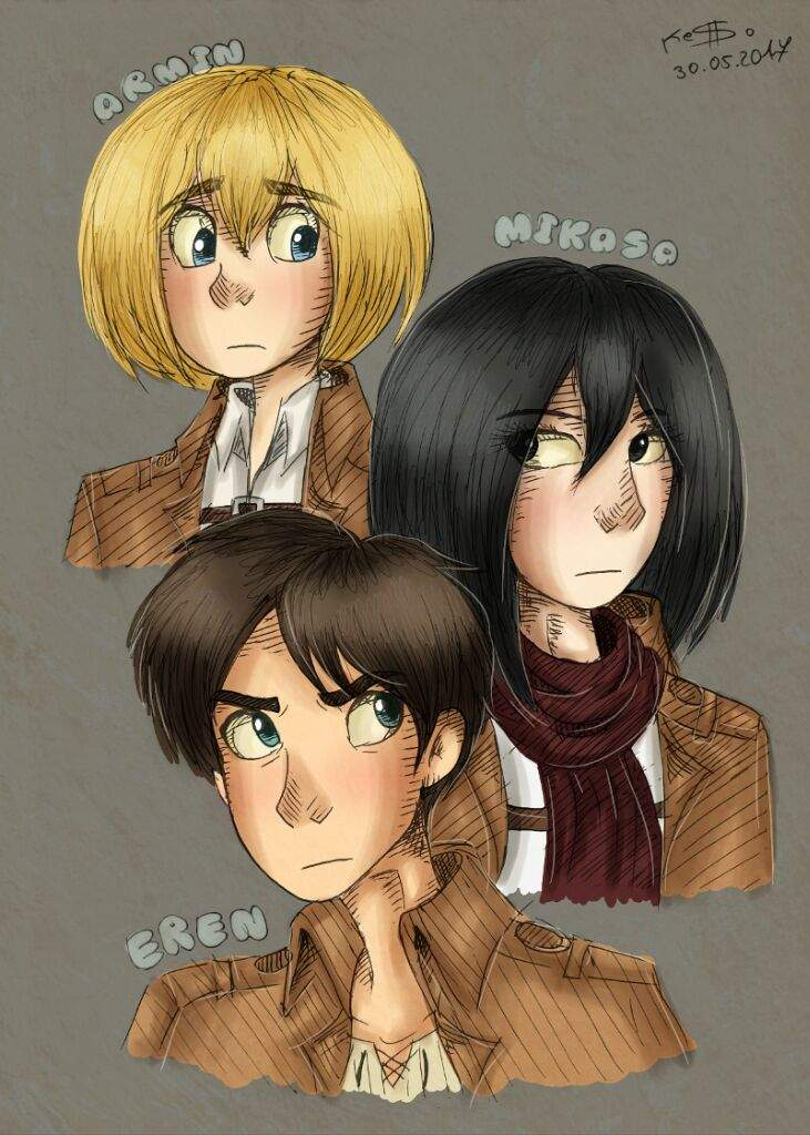 Armin Mikasa And Eren Fan Art Attack On Titan Amino