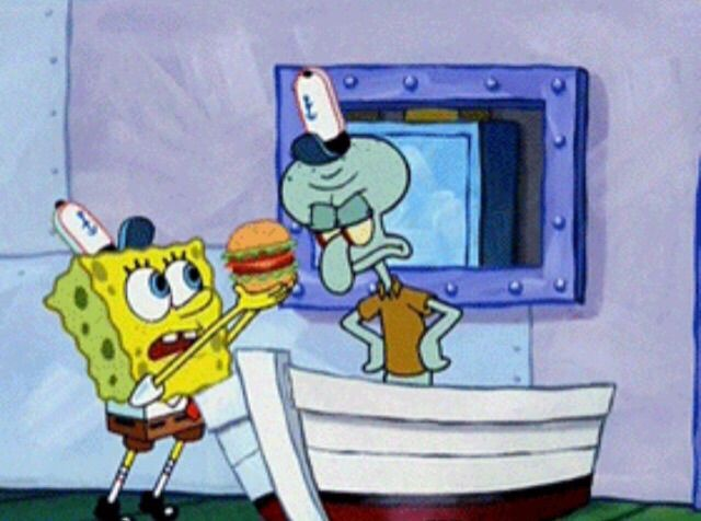 Image result for krabby patty spongebob squidward