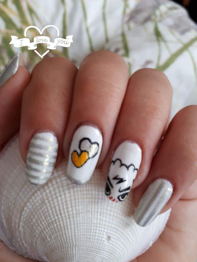 Nails are inspired by my little sunshine my bias my hobi my J-hope ...