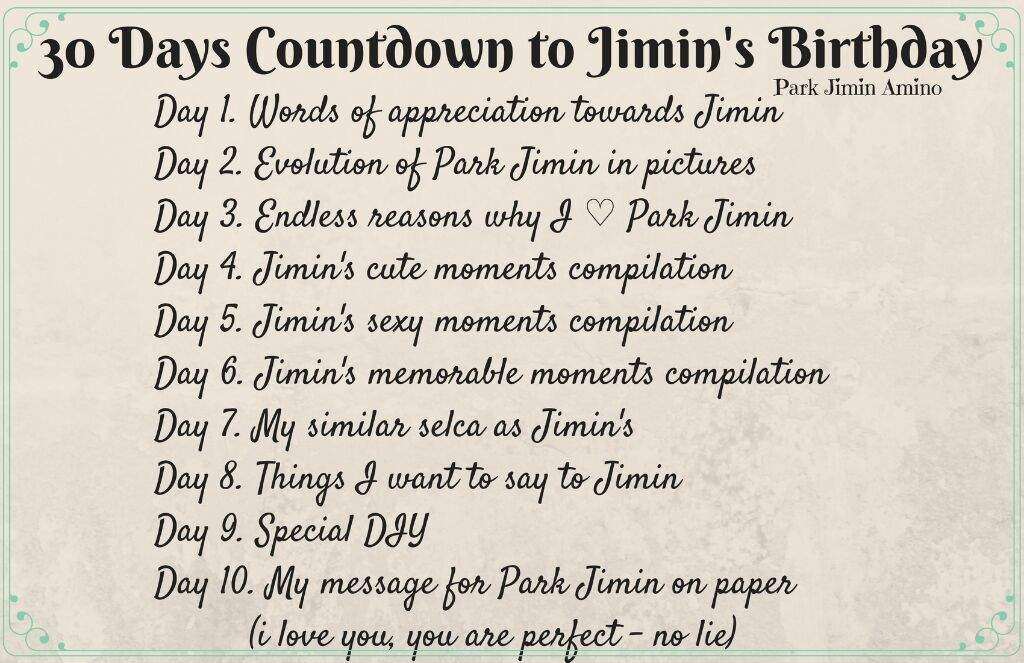 30 Days Countdown to Jimin's Birthday